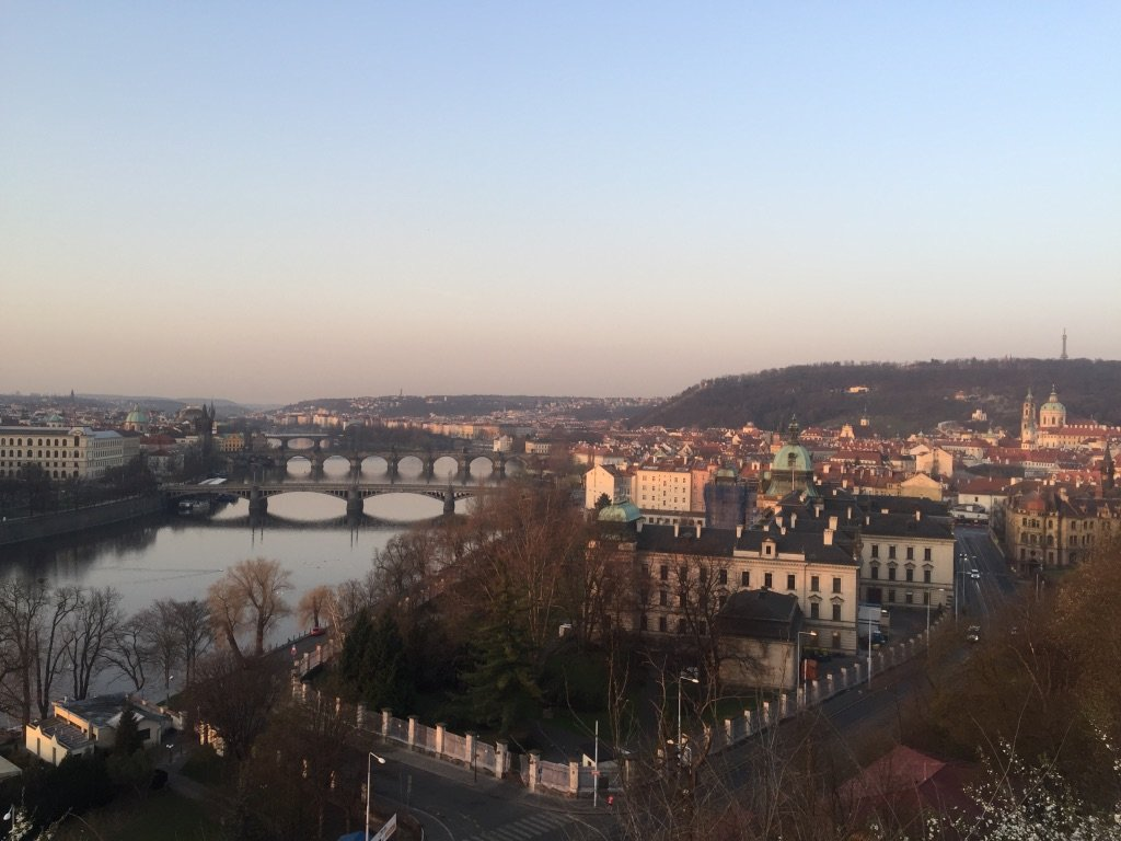 A View of Prague During Sunrise